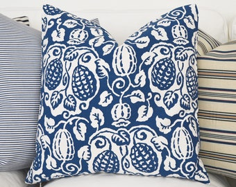 All Sizes Navy White Print Pillow Cover -  Blue Pillow Covers, Navy Pillow, Decorative Throw Pillow Cover, Navy Blue Pillow, Cushion Cover