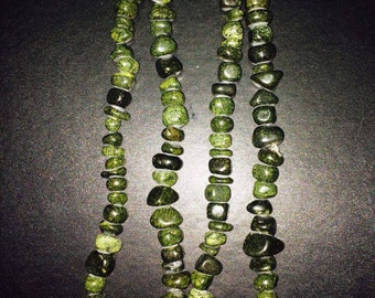 Long green agate necklace