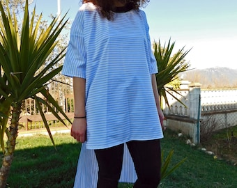 Maxi t-shirt/Pinstripe cotton dress used on the bias