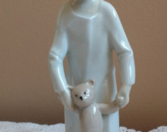 VINTAGE 1877 Lippelsdorf East Germany Porcelain Figurine Lady with Teddy Bear