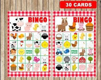 Printable 30 Barn Bingo Cards; printable Farm Bingo Game, Farm party Bingo game instant download