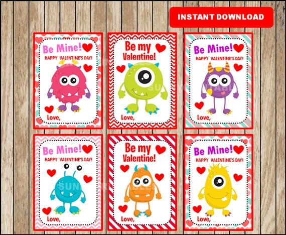 Monster Valentine Cards Be My Valentine cards Printable – Monster Valentine Cards
