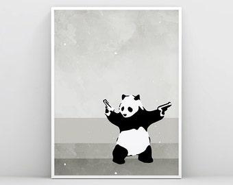 Banksy, Banksy Print, Banksy Wall Art, Panda with Guns, Banksy Stencil, Graffiti, Banksy Painting, Banksy poster, Street Art Banksy Canvas