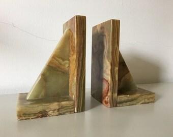 Geometric Onyx Bookends