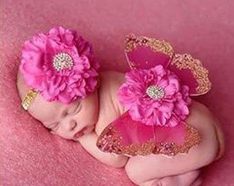 Pink and Gold Newborn Baby Butterfly Wings and Flower Headband Set, Angel Wings Photo Prop, Newborn Wings with Headband, Baby wings