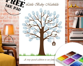 Fingerprint tree with ink for Baptism, Wedding, ink pad included - Thumbprint Tree Guest Book Poster - Custom color and text available