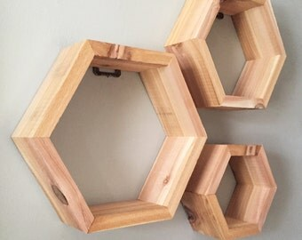 Set of 3 Rustic Cedar Hexagon Shelves
