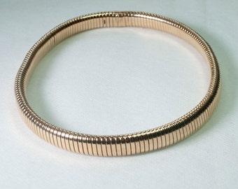 Retro 9ct Gold Gaspipe Necklace