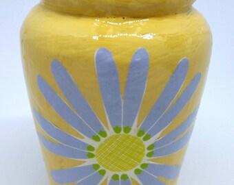 Small yellow decoupage pot