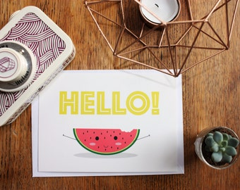 "Card postcard A6 ""Hello!"", watermelon, typography"