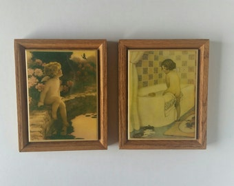 Vintage Set of Two Kimberly Enterprises, Inc. Original, Ceramic Photo Trivet Pictures