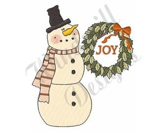 Joy Snowman - Machine Embroidery Design