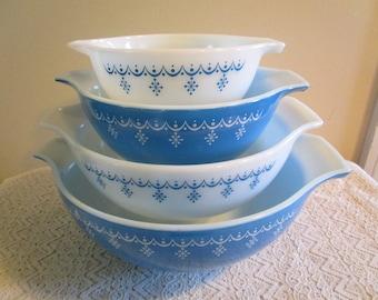 Pyrex Snowflake, Blue and White, #441, 442, 443, 444, Cinderella Handles