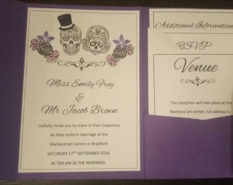 Sugar skull wedding invitations/gothic/vintage/custom made