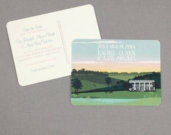 Kentucky Plantation Wedding Save the Date Postcards - JA1