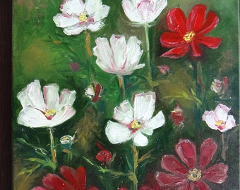 Original oil painting on canvas.White ,red flowers.Flowers oil painting.