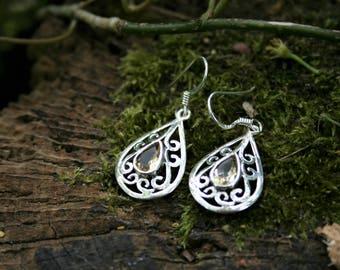 Celtic Style Earrings With Lemon Quartz