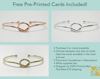 5+ Love Knot Bracelets, Free Thank You Cards, Flat Rate Shipping