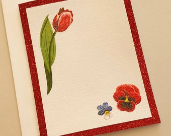 Red Flower Any Occasion Card / Note Card / Red Glitter / Sparkly Card / Unique / Gift / Hand crafted / Friendship / For a friend / Birthday