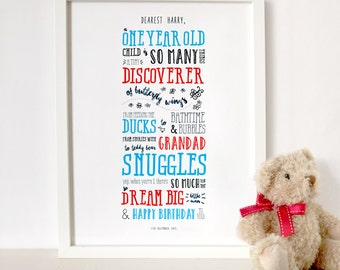 First birthday gift etsy personalised first birthday poem a3 print baby boy girl unisex customise perfect negle Gallery