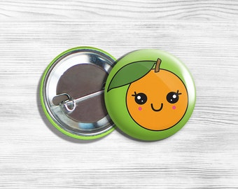 Kawaii Orange Vegetarian Vegan Pinback Button Pin 1.75""