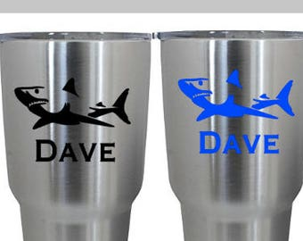Yeti Decal, Water Bottle Decal, Fishing Decal, Men's Decal, Shark Decal, Personalized Decal, Laptop Decal, Car Decal, .99 Shipping