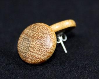 Button Earrings in Lati Hardwood - 20mm/0.78 inch