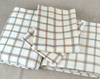 Plaid QUEEN Vintage Sheet Set- Flat, Fitted, Pillowcases