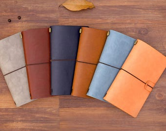 PREORDER: Leather Travelers Notebook (See description for size) with two inserts, pen, card pockets, and zipper pouch inserts