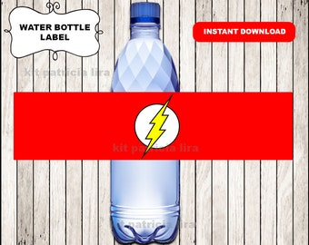 The flash logo water labels instant download , The flash water bottle labels, Printable The flash Bottle labels