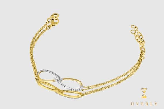 14k Solid Yellow White Rose Gold Diamond Infinity Women's Bracelet