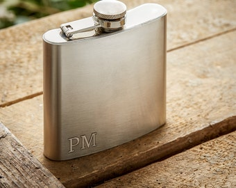 Stainless Steel Flask with Engraving - Personalised with Small Initials – Gifts for Men