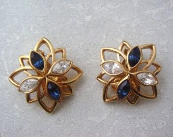 Open work Flower Clip on Earrings, Blue and Clear Rhinestone Earrings