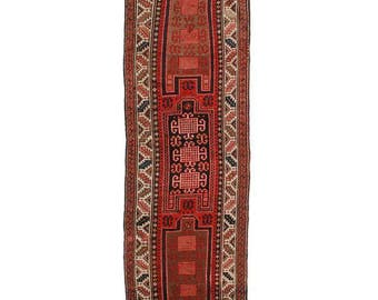 """Antique Russian Caucasian Runner - 3'7"""" X 10'6"""" Red, Bold Colors"""