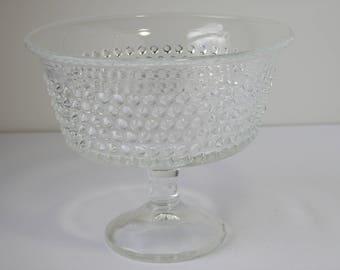 Vintage Pressed Glass Hobnail Footed Bowl