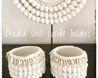 2 x Coastal Shell & Crochet Candle Holders