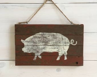 Rustic Pig on Barnwood