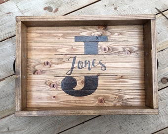 Personalized Serving Tray with Handles - Handmade Wood Burned Custom Wood Serving Tray- Rustic Farmhouse Tray -Personalized Gift