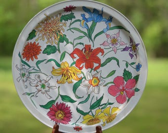 Vintage Tin Serving Tray, Potpourri Press Bright Red Yellow Pink Floral Tin Serving Tray