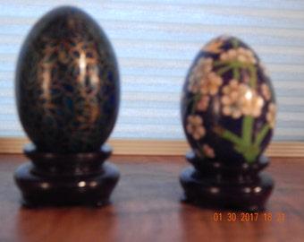 Vintage Set of 2 Cloisonne Eggs on wood stands