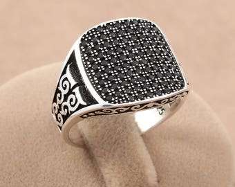 Turkish Handmade Black Zircon Stone 925 Sterling Silver Men's Ring Size 7.5 - 12