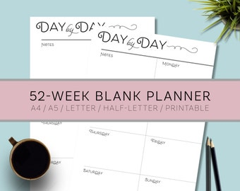 DAY BY DAY - Printable Weekly Blank Planner Agenda Calendar, Simple Elegant To Do List, Instant Download, Digital File