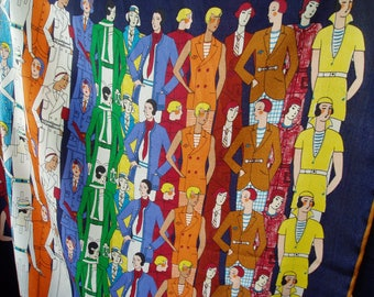 """digital  print silk crepe de chine fabric character motif 55"""" width sell by piece"""
