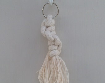 Spiral macrame knot keyring made with 100% cotton
