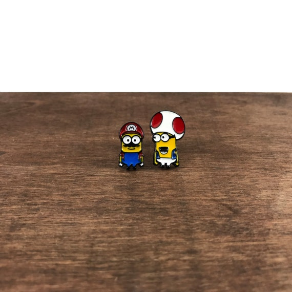 Minions Earrings, Minions Studs, Despicable Me Earrings, Despicable Me Studs, Super Mario Earrings, Super Mario Studs, Mario Earrings