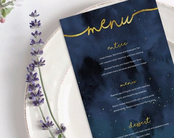 Moon and Stars ~ Astrology Space Night Watercolour ~ Wedding Party Event Birthday Menu ~ Gold Foil ~ DIY Invite Template Printable