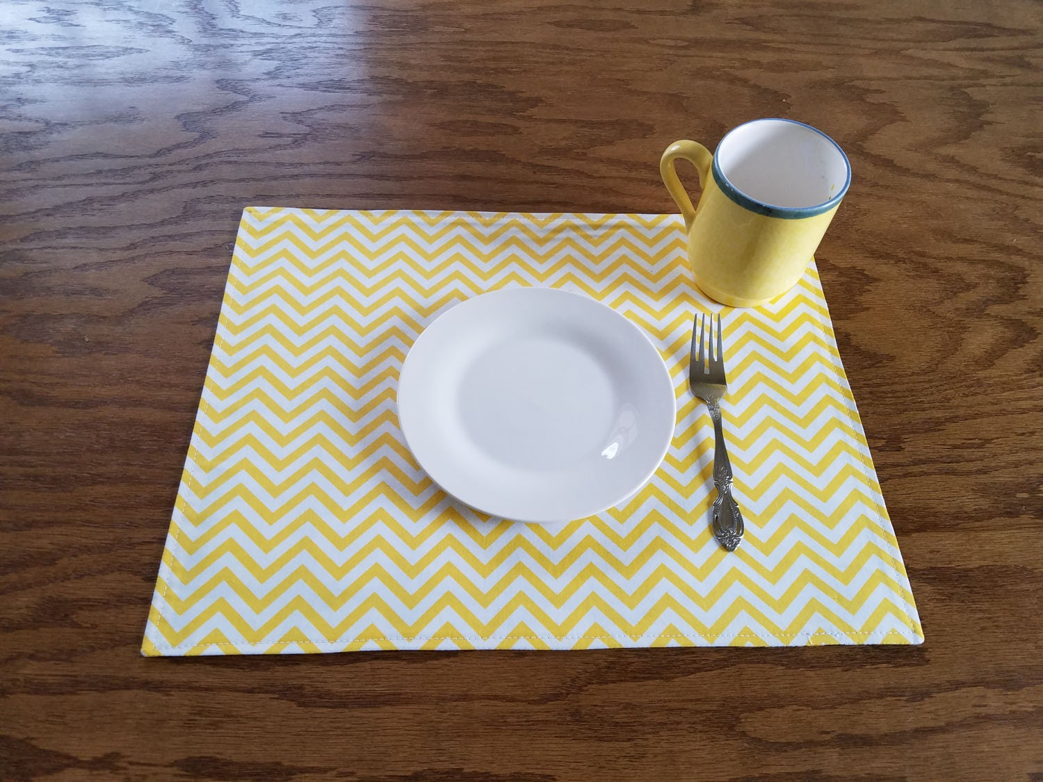 Handmade table mats design - Sunflowers Chevrons Placemats Reversible Table Mats Dining Room Decor Linens Colorful Vibrant Gift Idea Handmade