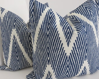 Lacefield Bali Blue Pillow Cover, Chevron Blue  White Pillow, Ikat Blue Pillow Cover, Zig Zag Blue Pillow Cover