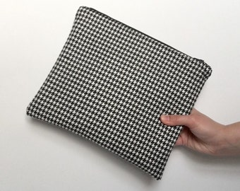 Fabric Clutch Bag, Upcycled Houndstooth Print, Zipper Clutch, Christmas Gift, Monochrome Bag, Gift for Her, LoadedBobbins
