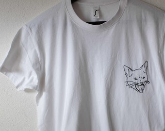 cat kitten yawning T-Shirt white black handstitched
